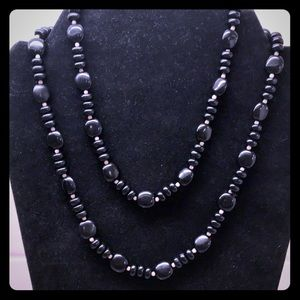 Vintage Black Lucite Long Beaded Necklace